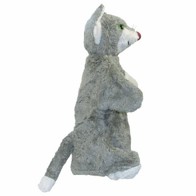 Hand puppet grey cat - made of natural material - by Kallisto